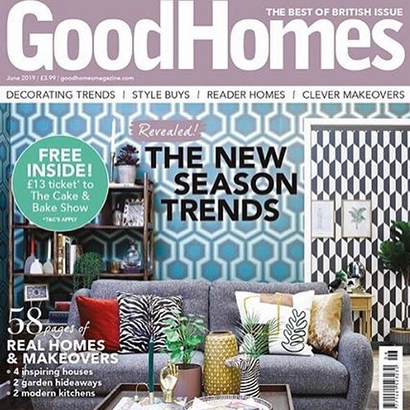 The  Whitaker Stool ,  Girling Chair ,  Minna Cushion  and bespoke  Headboard  were featured in the Royal Roomsets Special in Homes and Gardens Magazine. All positioned by stylists for the Ideal Home Show 2019. Good Homes Magazine - June 2019