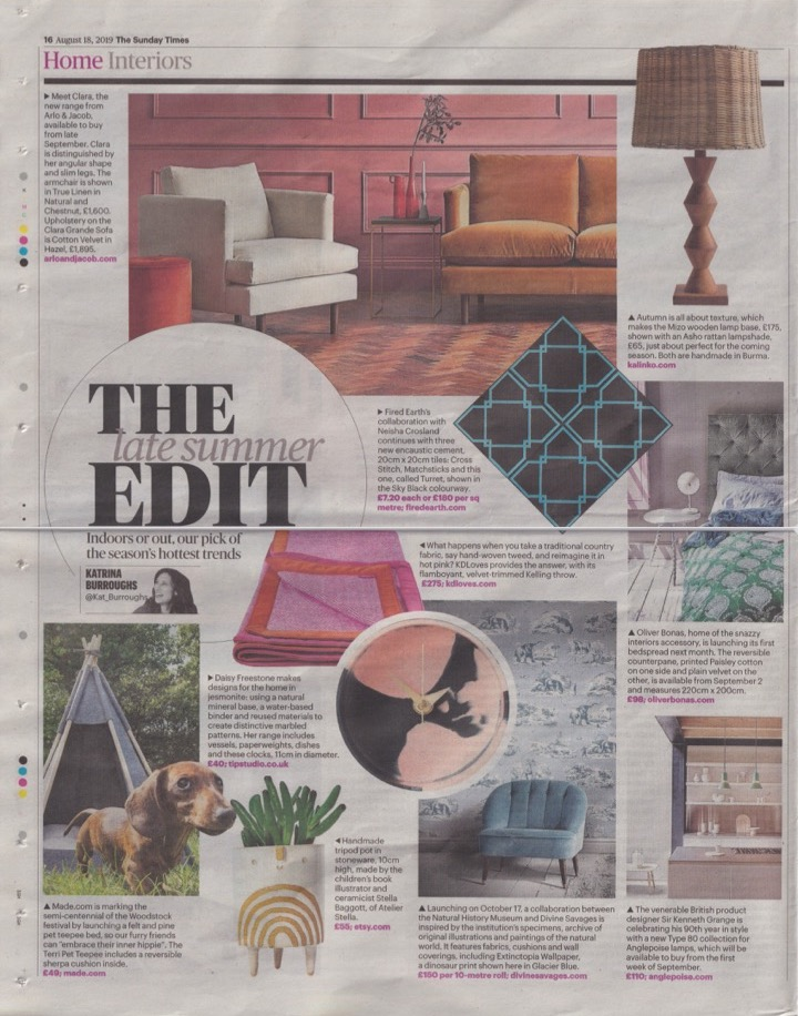 The  Kelling Throw  featured in The Sunday Times - August 2019