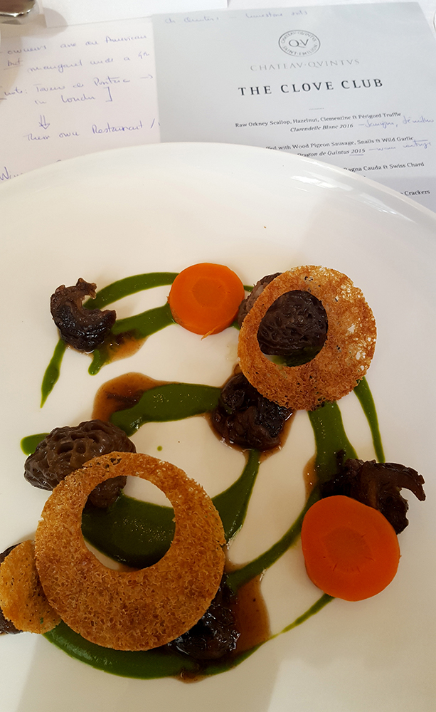 Moorels stuffed with Wood Pigeon Sausage, Snails & Wild Garlic
