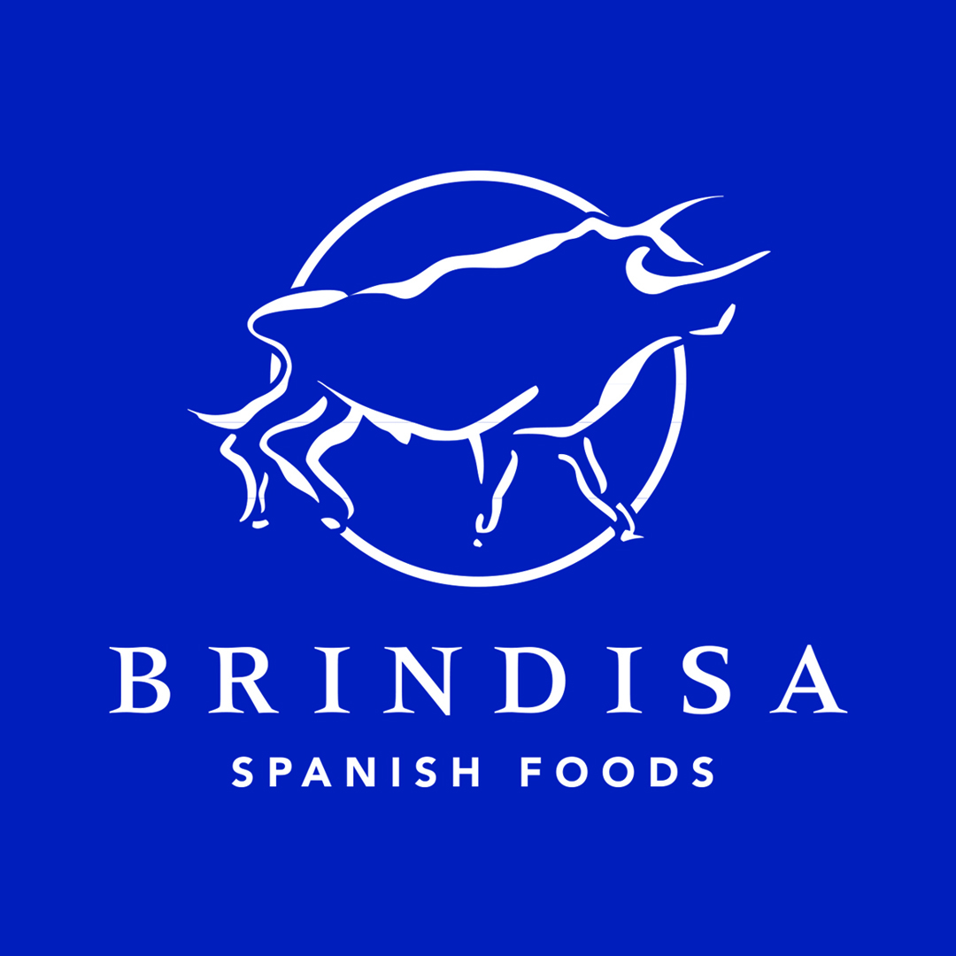 BRINDISA  logo white with blue blackground and bleed.jpg