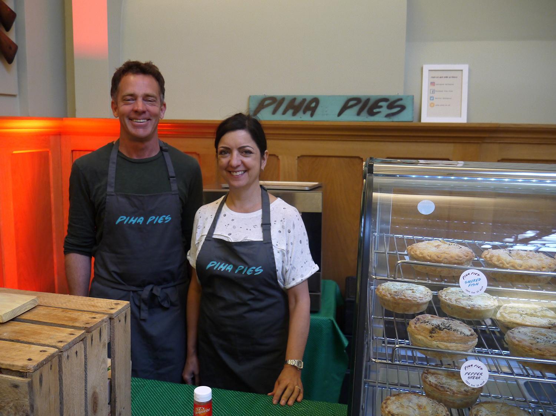 Jeremy Hewson, founder of Piha Pies, with wife Sarah.