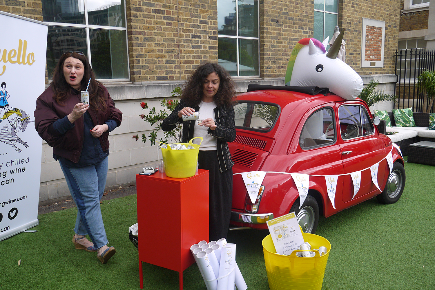 Roberta Sergio, founder of Quello (and East-London legend) pouring her delicious sparkling wine with the help of her Cinquecento and faithful unicorn