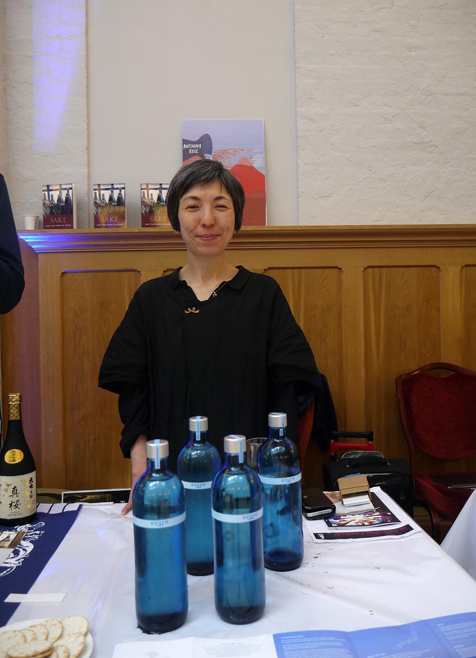 Yukiko Hiromatsu of Tosatsuru brewery with bottles of the iconic Azure