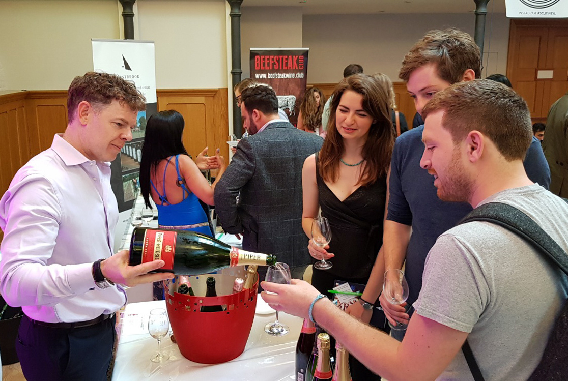 Simon Stockton, of Piper-Heidsieck, pouring on the starts of the show: the newly released 2012 vintage.