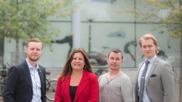 Fr. vänster: Anton Öhrlund 1:vice ordförande, Hanna Lundberg Jernberg ordförande, Fredrik Älvdahl medlemsnytta, Timmy Nyberg 2:vice ordförande.