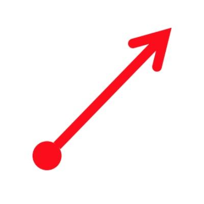 Red dot + directional right upward arrow