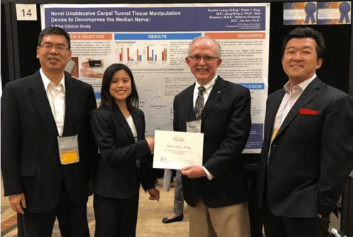 Award Presentation by AANEM President (Photo from L to R: Zong-Ming Li, PhD of Cleveland Clinic, PaulineLuong, ME Lead Author, William S. Pease, MD President of AANEM, and Jae Son, PhD Inventor)