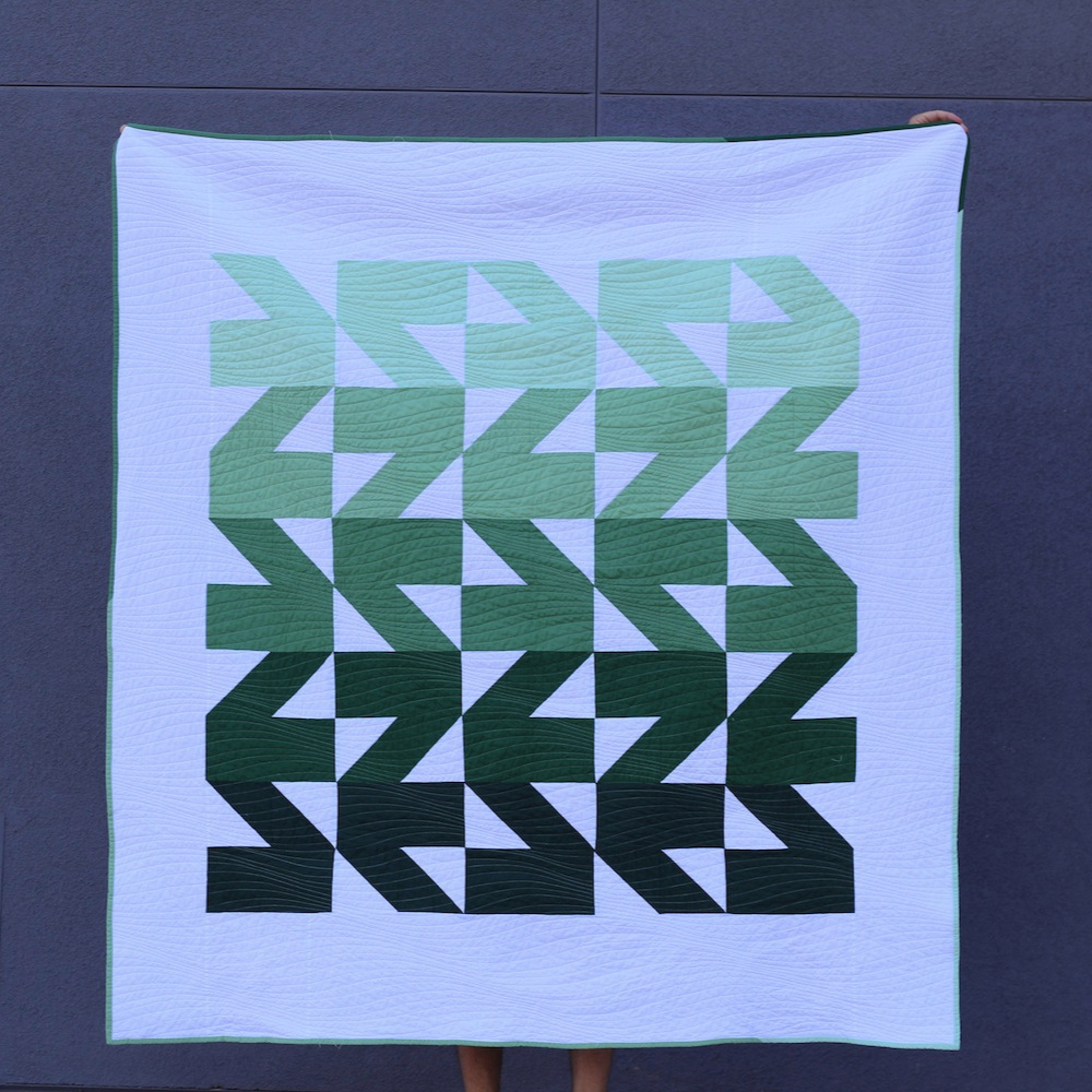 VILLAGE GREEN 60 x 64 | 2018, Quilt 019 Modern Waves by Initial K Studio
