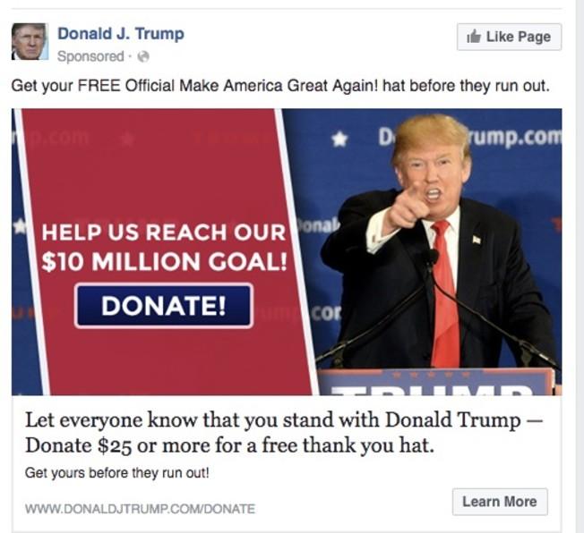 President Trump facebook ad