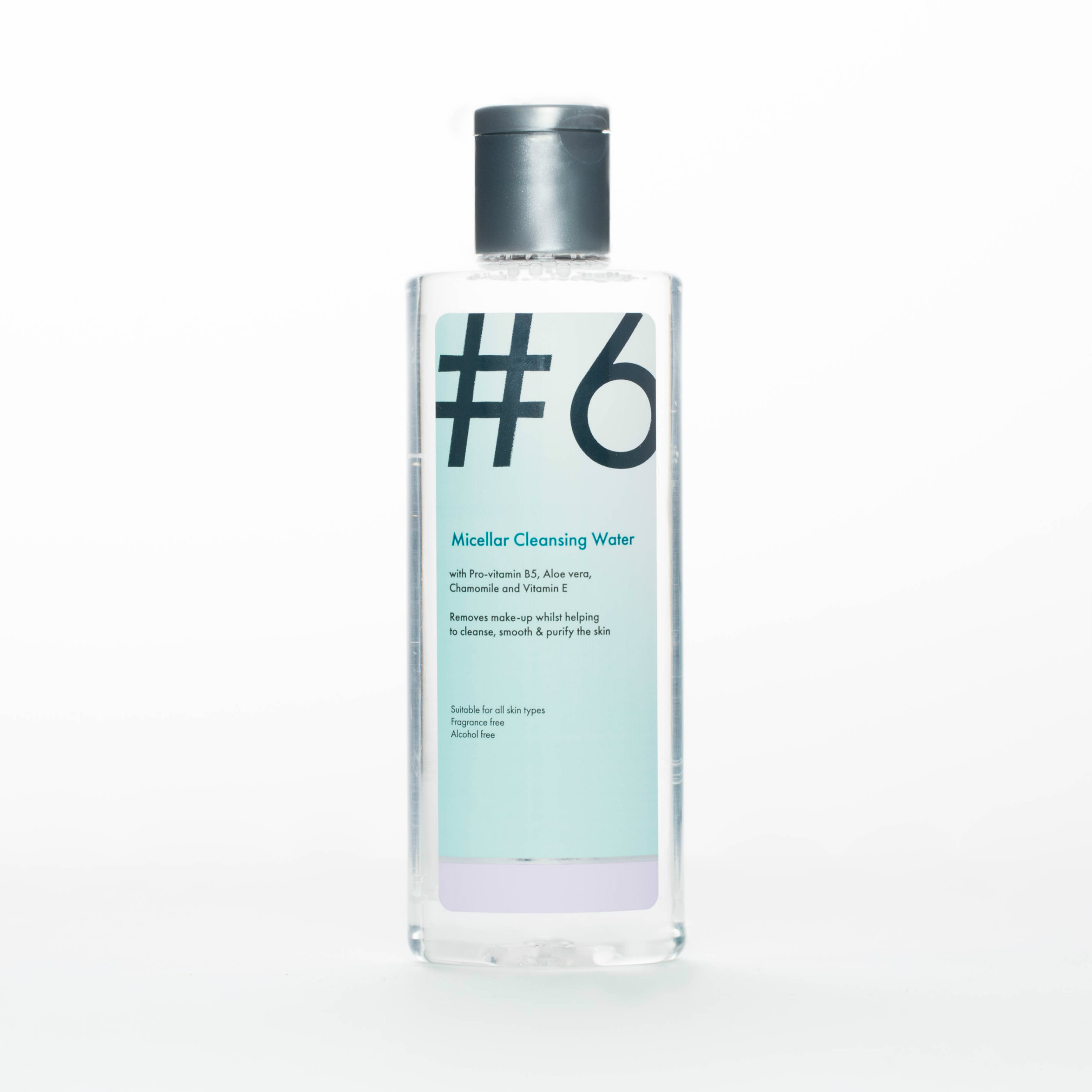 #6 Micellar Cleansing Water - With Pro-vitamin B5, Aloe vera, Chamomile and Vitamin E. Removes make-up whilst helping to cleanse, smooth & purify the skin.Our gentle #6 Micellar Cleansing Water is perfect for sensitive skin. It uses tiny micelles which attract dirt and make up like a magnet, removing them in one easy step. Containing no harsh detergents or chemicals it will leave your skin cleansed, nourished and hydrated.Suitable for all skin types including sensitive. Hypoallergenic. Dermatologically tested. Ophthalmologically approved. Fragrance Free. Alcohol free. Suitable for Vegans. Made in the UK.