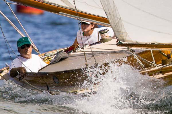 Alan Silken racing aboard  Firefly in the Museum of Yachting Classic Yacht Regatta.