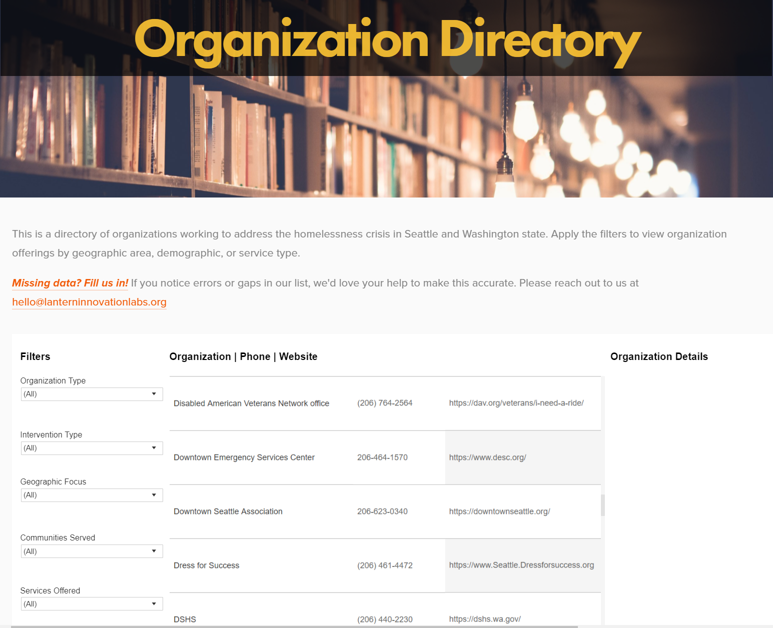 Building a directory - of organizations working to address homelessness