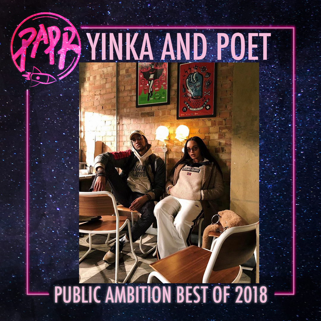 """- Poets Corner and Yinka Says linked up in 2018 to break all boundaries. Their collaboration with Puma was a significant moment in redefining endless possibilities amongst London's young culture shapers. The shoe was designed with London in mind, the pair used tonal colorways and featured references to London's bus tickets, nostalgic mobile phones, sweet wrappers and popular takeaway menus. The """"No Ball Games"""" transcript detailing on the heel of the shoe is an ode to childhood memories for all those who grew up in London. Poet and Yinka are powerful individuals within London's creative community and we are confident that in 2019, they will continue to set standards."""
