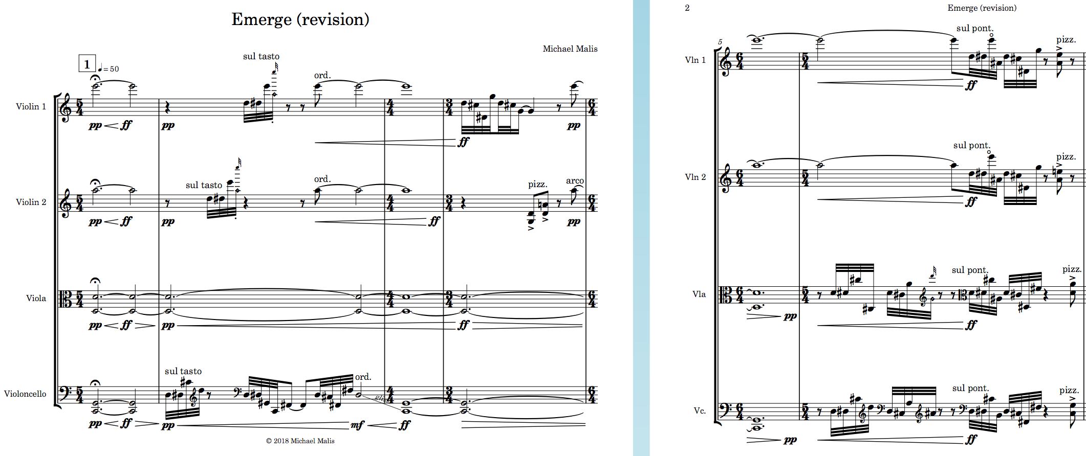 """The opening of  Emerge  with unified bar lines and time signatures between the players. (Notice too that I ended up taking the violins down an octave for their held """"primary harmony"""" notes. This decision was made after the first reading session, where the violinists' valliant efforts were still not enough to overcome the unwise decision of writing so high so consistently. Taking these 5ths down an octave throughout the piece was the best decision I could have made for the piece.)"""