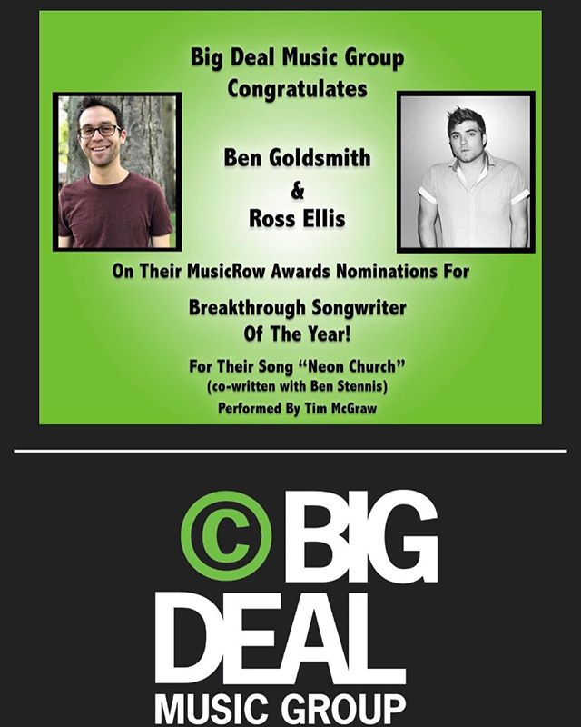 "I have the best ""job"" in the world. Thank you @musicrowmagazine for this nomination. And to my @bigdealmusicnashville family for all the time and support! #musicrowawards"