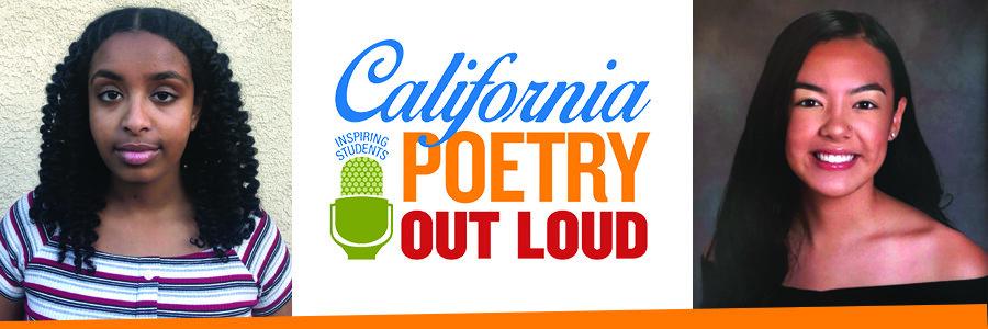 2020 California Poetry Out Loud champions Eden Getahun of Sacramento County and Malia Cruz of Napa County.