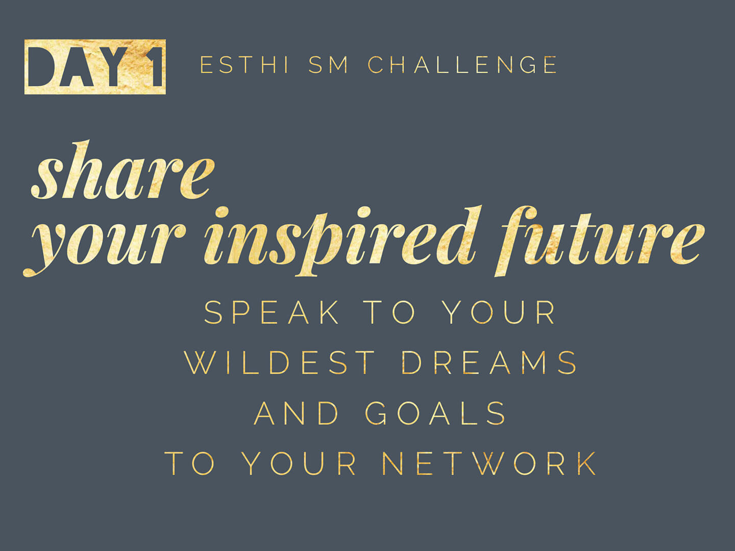 share your inspired future - Get ready to shift the energy of your social media toward high quality relationships, trust and client leads!Our first challenge may be intimidating for you - but that is a GOOD THING - it means it will change you!DAY 1 TASK: I want you to share your INSPIRED FUTURE with your network. ⭐What is an