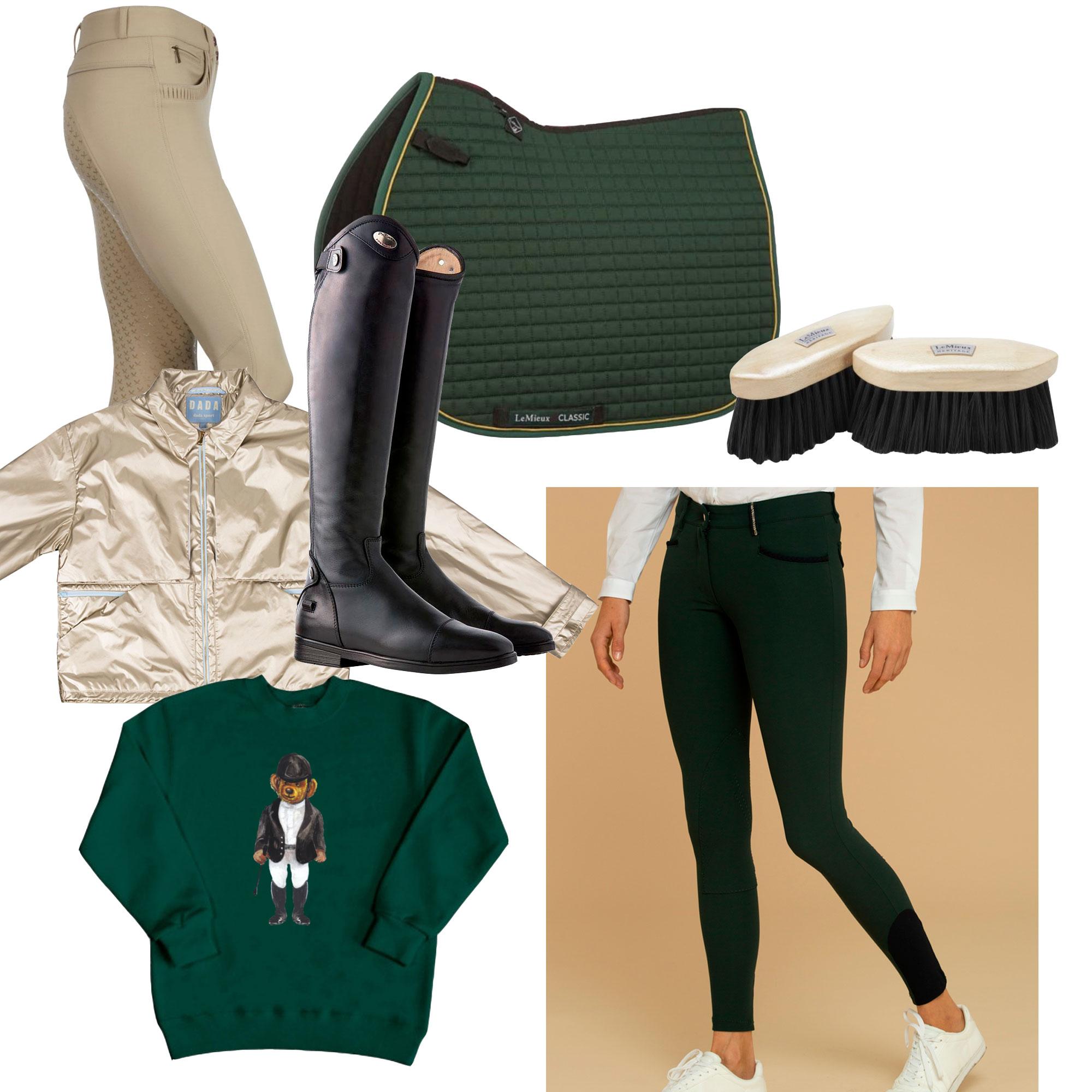Beige ridebukse, sjabrak og børster fra LeMieux / jakke og grønn ridebukse fra Dada Sport / ridestøvler fra Parlanti / genser fra Equibear