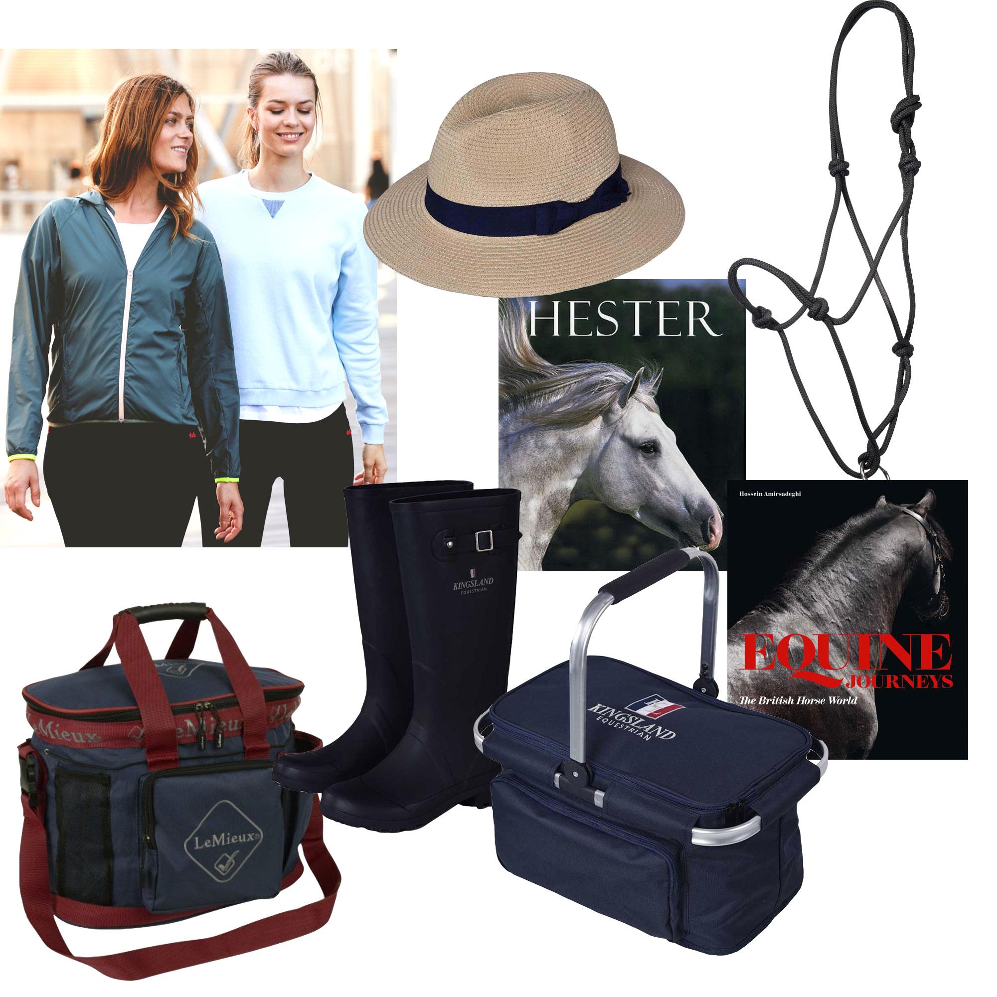 "Photo: Dada Sport / Kingsland / Hööks / LeMieux / ""Hester"" by Nicola Jane Swinney / ""Equine Journeys – The British Horse World"" by Hossein Amirsadegh"
