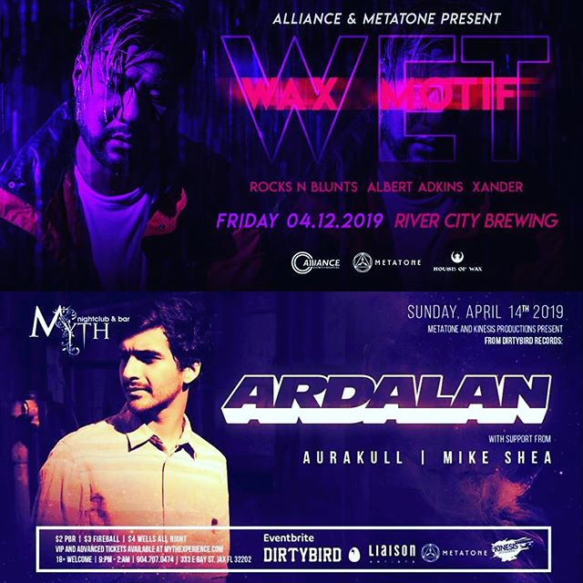***UPCOMING EVENTS*** 🔥Join @metatoneevents & @alliance_events 🔥this weekend for 2 #housemusic events ============================== Friday April 12th - @waxmotif at @rivercitybrewingjax  Sunday April 14th - @ardalander at @myth.element  Tickets - @ticketfairy