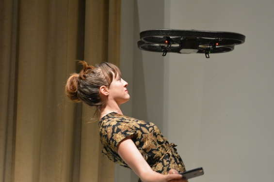 """AUNTSforcamera"" Production Week: Open Studios (September 10–14, 2014). Photo: Travis Chamberlain. Pictured: Cara Francis dances with a drone in production for her work  REMOTE"