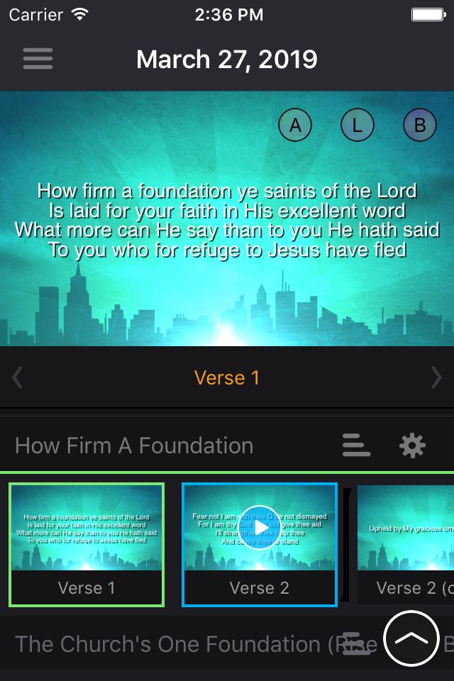 WorshipStorm Projector on iOS