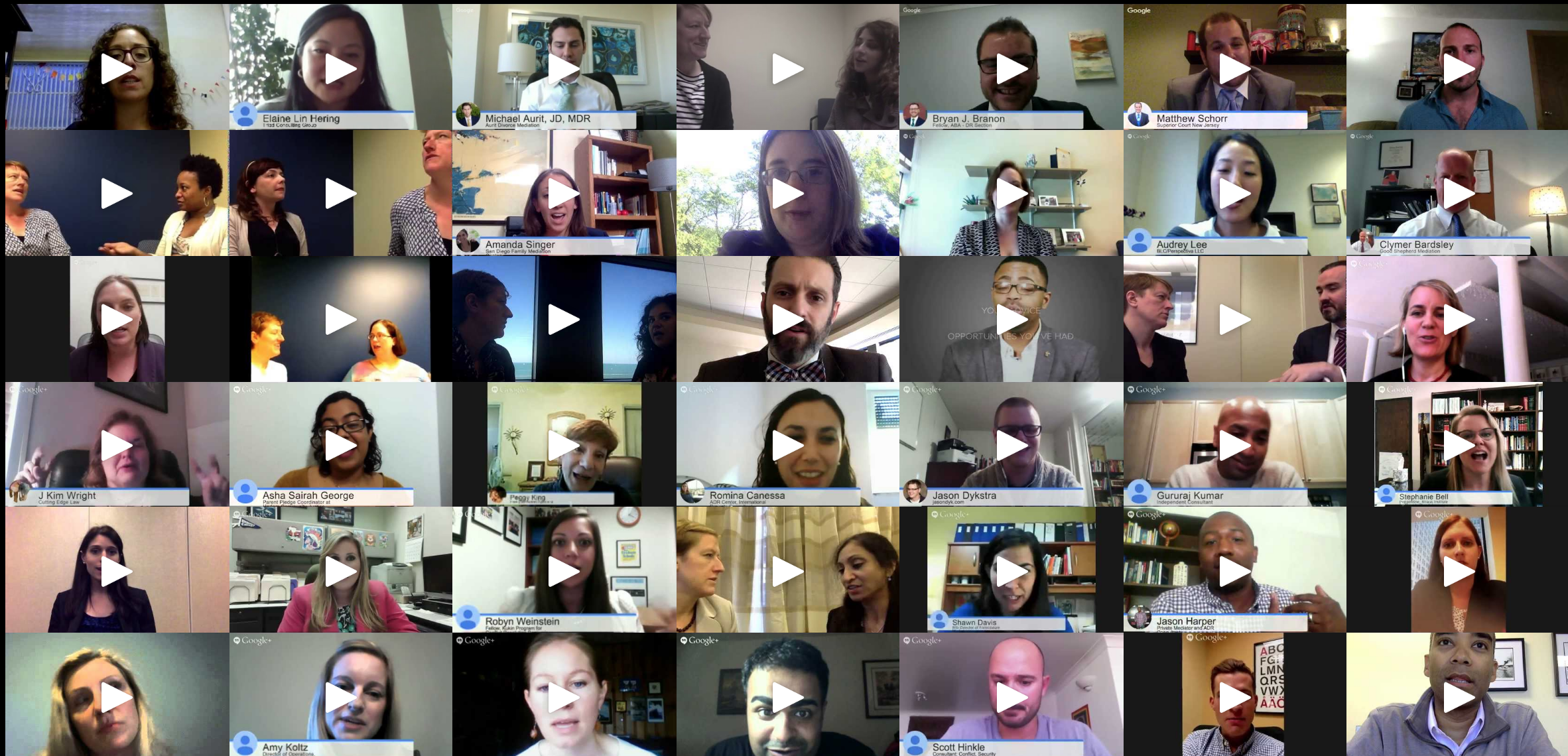 A VIDEO BLOG - celebrating individuals who started out their professional careers in the ADR field. Hear stories about paths they followed, advice they received, challenges they faced, and accomplishments they achieved.