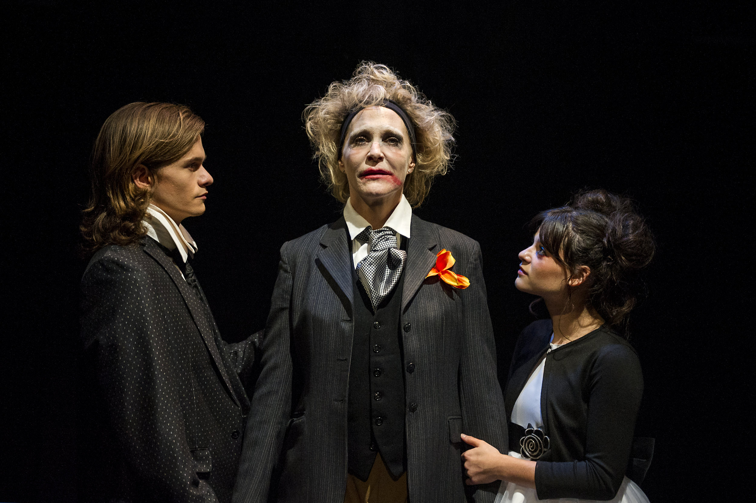 Alex Might (The Boy), Jennifer Jewell* (The Man with a Flower in His Mouth), and Carleigh Chirico* (The Girl)