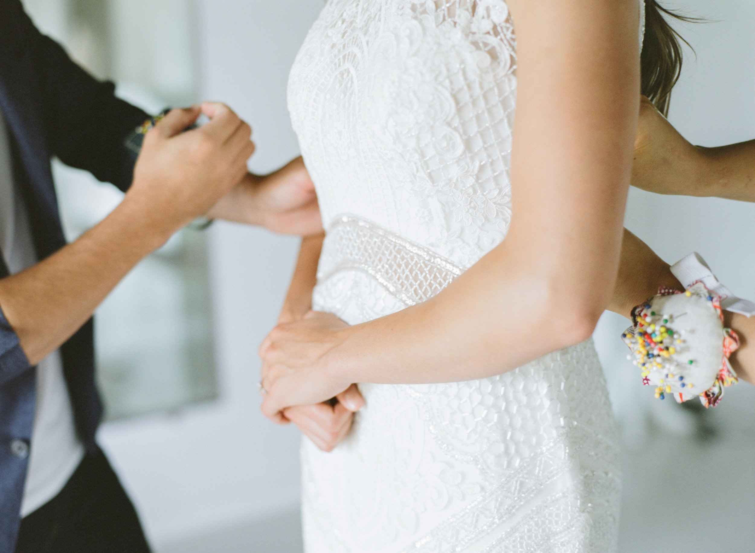 FAQ - When should I have my dress altered?The short answer is, when your size and weight are stable. If you are undertaking a diet or weight loss program, we'd advise you to set a goal date for stopping and stabilizing your size and weight, then book your appointment for that time. We require the first appointment to be at least three weeks before the wedding. If your size is very consistent, it would be fine to have your dress altered 3-4 months before the wedding.How long does it take to get my dress back?Our turn-around time is 5 days for most typical dress alterations. Careful scheduling, allows us to work on your dress right after your fitting, while all details are still fresh in our memory. To do this turnaround so quickly, we have to be very organized with our appointments. Please make sure you arrive on time and if you need to reschedule, kindly do so as far in advance as possible.