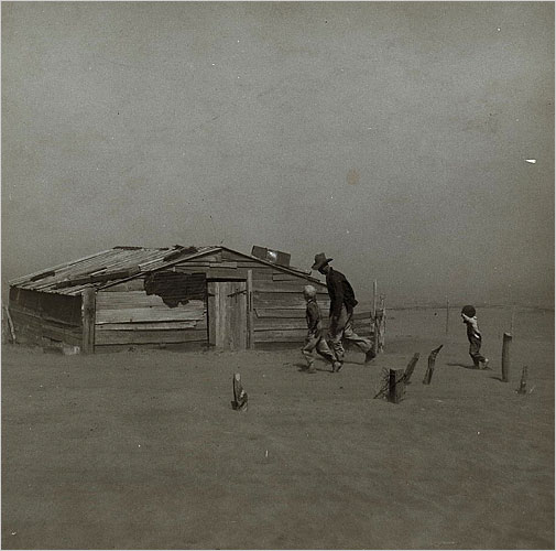 """Arthur Rothstein's """"Fleeing a Dust Storm"""" is featured in """"Documenting the Face of America,"""" Monday on most PBS stations.CreditLibrary of Congress Prints and Photographs Division"""