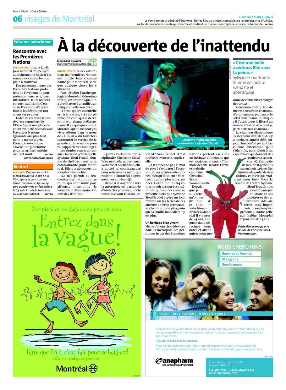 journal Metro - Montreal, Juin 2007