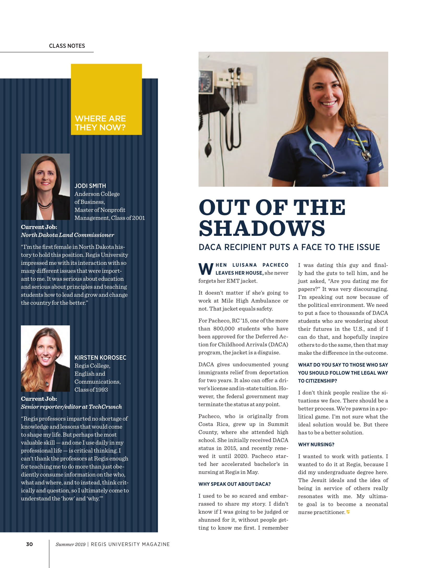 Summit County Dreamer and nursing student Lu Pacheco featured in Regis University Magazine.