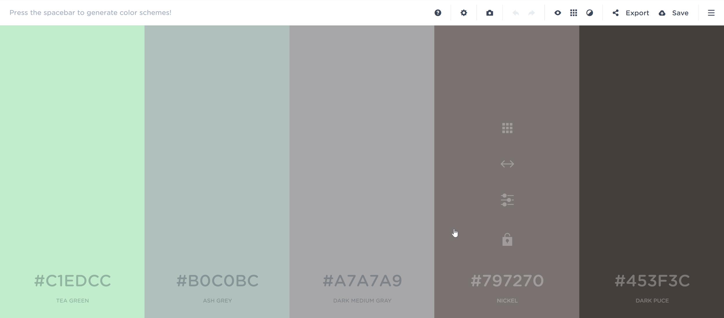 Space through random palettes - Save your favorites