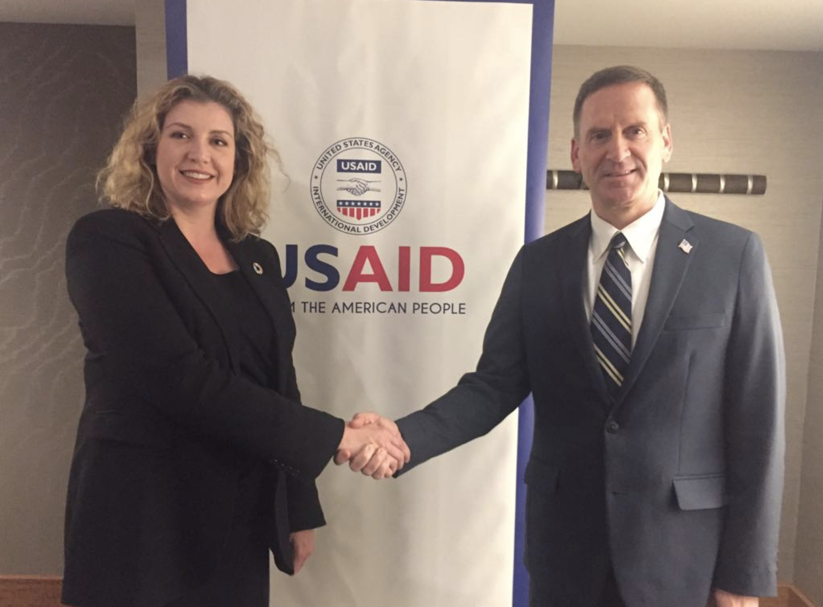 USAID Administrator, the Honourable Mark Green, and UK Secretary of State for DfID, the Right Honourable, Penny Mordaunt, announcing the Humanitarian Grand Challenge.