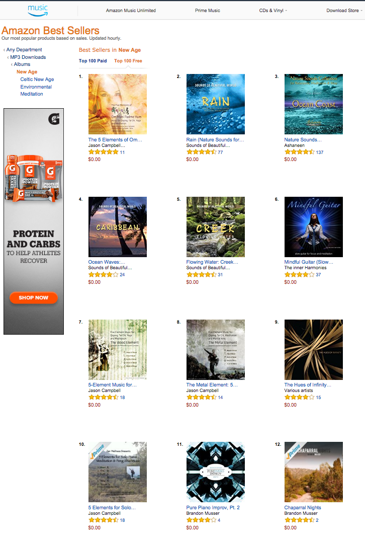 #1 on Amazon!! Notice the #7, #8 and #10 spot. 4 of my albums in the top 10 at once!