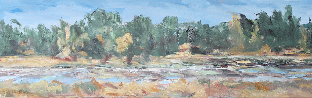 Bend in the Deschutes  Oil on Canvas 12 x 36 $475.00