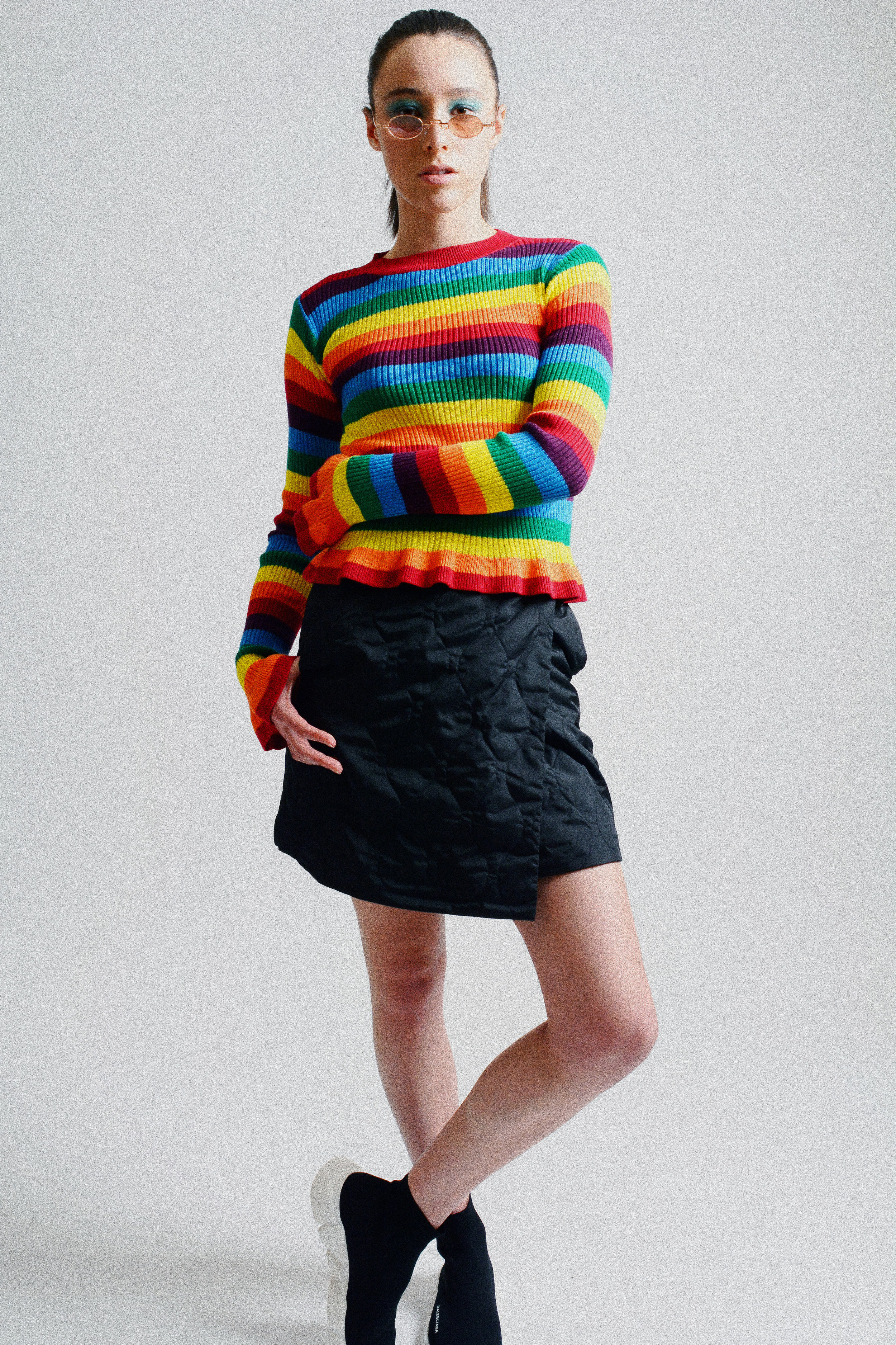 Shirt: Lord and Taylor Skirt: Uniqlo Shoes: Balenciaga Glasses: Mooki May