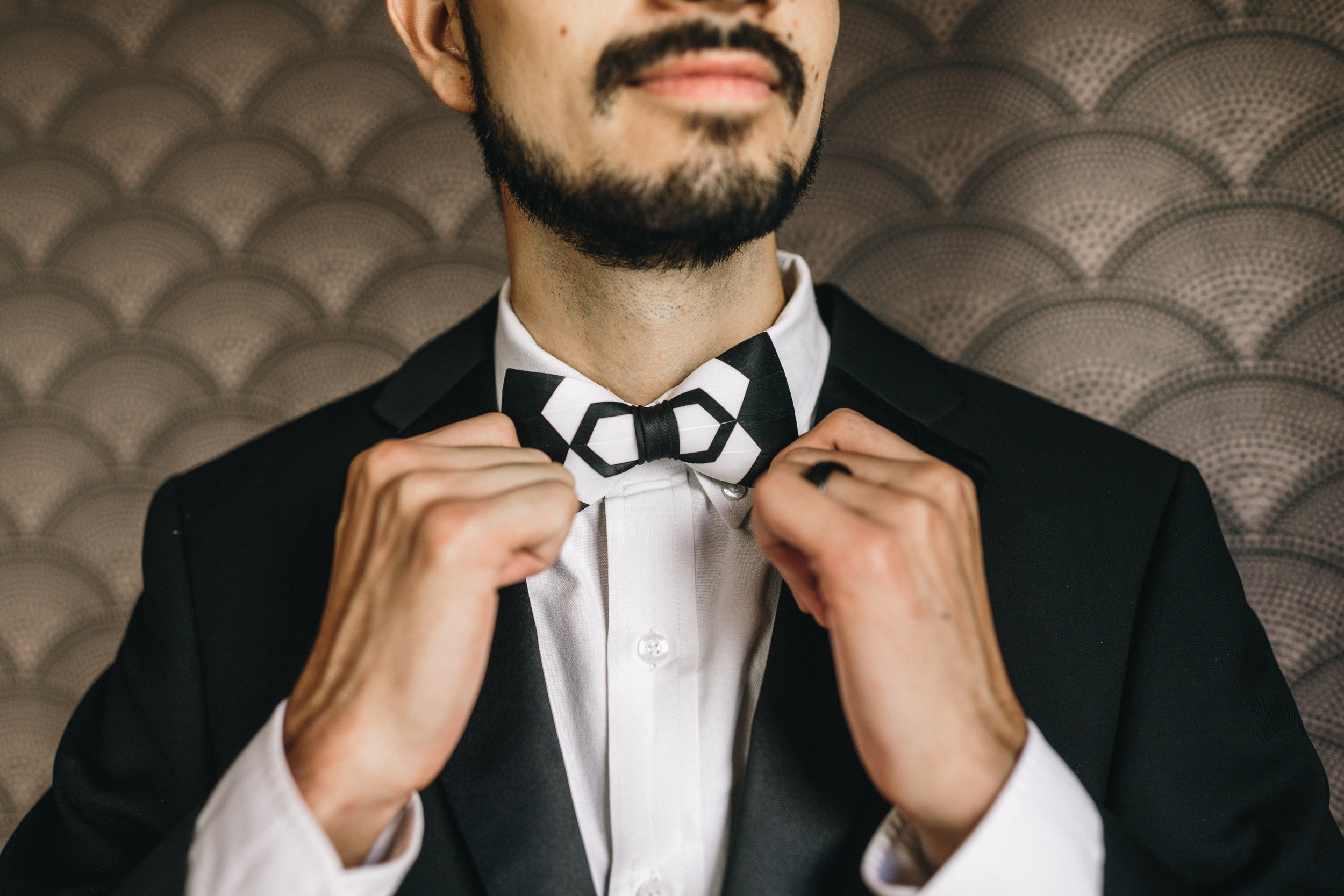 Black and White Groom Bowtie Savannah Wedding Planning by Fleeting Elegance