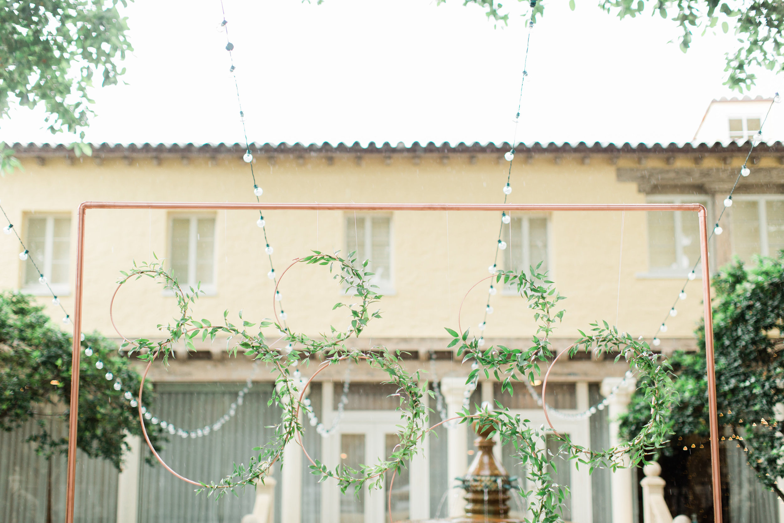 Rose Gold and Greenery Ceremony Arch at Boca Raton Wedding, Planning by Fleeting Elegance