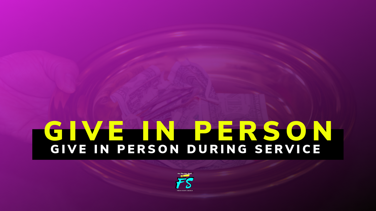 Give In Person - You can give in person on Sunday during our weekend worship experience or you can mail a gift to:Fresh Start ChurchP.O. Box 1064Vallejo, CA 94590