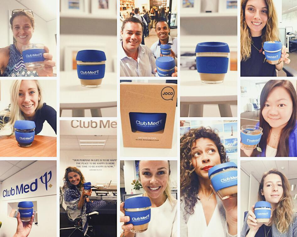 The Club Med office proud of their re-usable coffee cups!