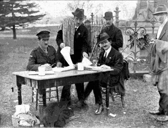 Sgt Foster and Committee by the Boer War Memorial, 22/6/1918.  [Tasmanian Mail 27th June 1918 p19]
