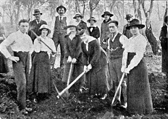 Group of workers who assisted with the digging of holes for the Soldiers Avenue, 29/6/1918.  [Tasmanian Mail 4th July 1918 p19]