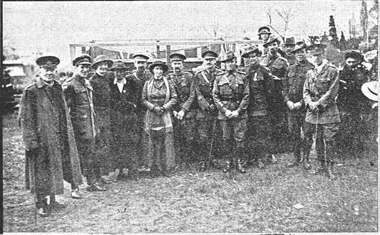 Group of dignitaries including Col Young, Major Lewis and Anglican Archbishop.  [Tasmanian Mail 8th August 1918 p18]