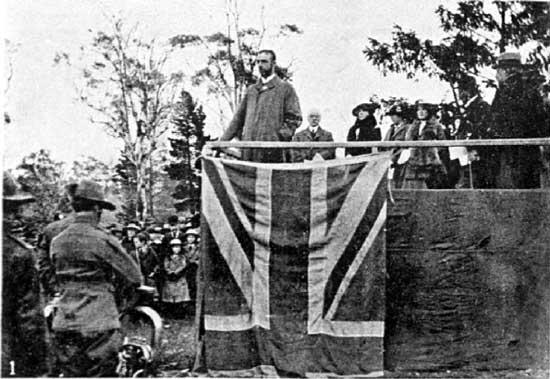 Sir Herbert Nicholls CJ giving his speech.  [Weekly Courier 8th August 1918 p22]