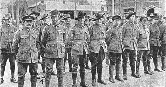 Soldiers parading before the march.  [Tasmanian Mail 8th August 1918 p17]