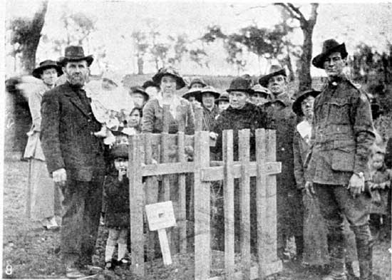 Family gathered at the tree for Lt Hare.  [Weekly Courier 8th August 1918]