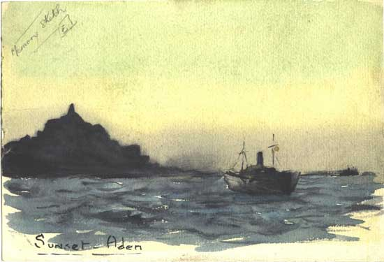 Watercolour of Aden done from memory.