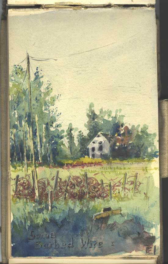 Small watercolour of barbed wire (place unknown). The cover of the pocket book can be seen clearly.