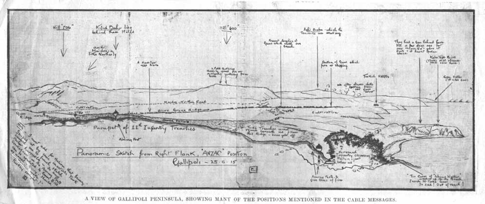 """A sketch of the Gallipoli positions later published in the Tasmanian Mail. The note in the bottom left corner reads """"I must add for realism that being sniped at by some inartistic Turk caused me to finish sketch rather hurriedly - so any crookedness in the Aiming Posts can be credited to Kaiser Bill as usual - Query - 'Should [obscure] make Turkish Delight?"""" The note to the bottom right reads """"Two cases of """"Johnnie Walker"""" washed up on the Beach Inside M. Turks lines. So sad! Out of reach!. The remainder of the captions point out Trukish batteries, trench lines and observation points. The aiming posts were used by artillery observers to mark and adjust the fall of shot. This and the """"Melbourne Mansion"""" skecth therefore had a very practical purpose for Keith and other observers."""